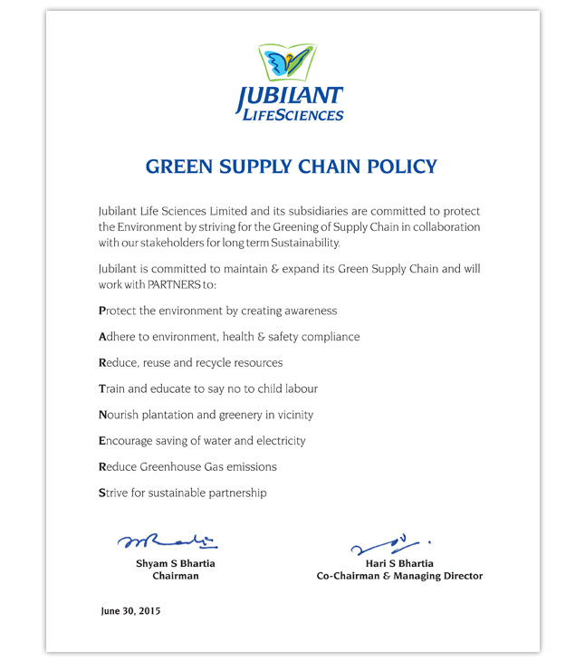 Green Supply Chain Policy